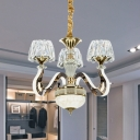 Clear Crystal Cone Pendant Chandelier Contemporary 3/5-Bulb Bedroom LED Ceiling Hang Fixture