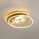 Gold/Coffee Star Flush Mount Light Nordic Style LED Acrylic Close to Ceiling Lighting for Bedroom