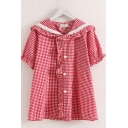 Womens Trendy Short Sleeve Sailor Collar Button Up Ruffled Lace Trim Plaid Printed Regular Fit Shirt