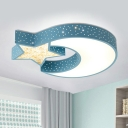 Acrylic Star and Moon Ceiling Mount Contemporary Blue/Green LED Flushmount Lighting for Bedroom