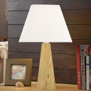 1 Head Nightstand Light Rural Pyramid Fabric Table Lighting in Taupe/White with Wood Base