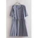 Popular Fancy Solid Color Short Sleeve Round Neck Button Up Stringy Selvedge Linen Short Pleated Swing Dress