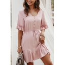 Gorgeous Ladies Short Sleeve V-Neck Button Up Ruffled Trim Solid Color Drawstring Waist Short A-Line Dress