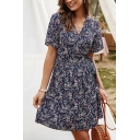 Fancy Ladies Short Sleeve Surplice Neck All Over Floral Printed Bow Tie Waist Short A-Line Dress