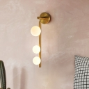 Gold Vertical Wall Lighting Ideas Postmodernist 3 Heads Metal Sconce with Orb Opal Glass Shade