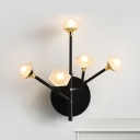 Black/Gold Flower Branch Sconce Lamp Modernist 5-Head Opal Matte Glass Wall Mounted Lighting Fixture