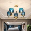 Mid Century 5-Light Flush Chandelier Blue Mug Semi Flush Ceiling Mount Light with Glass Shade