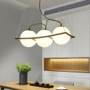 Modern 3/4 Light Cluster Pendant Black Global Hanging Lamp Kit with Milky Hand Blown Glass Shade