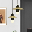 Flying Saucer Living Room Pendant Light Fabric 1 Bulb Postmodern Style Hanging Lamp in Black-Gold