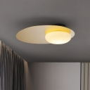 Black/Brass Disc Flushmount Minimalist 1 Head Iron Ceiling Lamp with Oval White Glass Shade