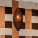 Rustic Oval Rattan Pendant Lamp 1-Light Hanging Ceiling Light in Coffee for Dining Room