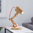 Nordic Robot Wood Table Light Single-Bulb Night Stand Lamp in Beige with Red Wire Cord