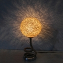 Asia Creative Spiral Hemp Rope Night Lamp Single-Bulb Table Light with Ball Rattan Woven Shade in Light-Yellow
