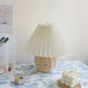 Nordic Flared Nightstand Light Gathered Fabric Single Living Room Table Lighting in White with Rattan Ball Base