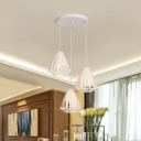 Contemporary Diamond Cage Multi-Pendant Iron 3 Bulbs Dining Room Hanging Light Kit in White with Round Canopy