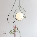 Milk Glass Ball Pendant Macaron 1 Head Hanging Light Fixture with Wire Cage in White/Pink/Green