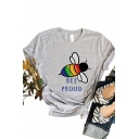 Creative Girls Roll Up Sleeve Crew Neck Letter BEE PROUD Bee Graphic Slim Fit T Shir