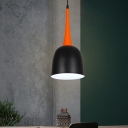 Iron Bell Shape Pendant Lighting Macaron 1 Head Black/White/Pink and Orange Ceiling Suspension Lamp