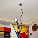 Cartoon Small Super Man Ceiling Light Iron 1 Bulb Kids Bedroom Suspended Pendant Lamp in Black