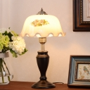 LED Night Table Light Country Style Bedroom Nightstand Lamp with Floral Tan/Cream Printing Glass Shade