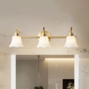 Scalloped Bell Bath Sconce Lighting Antiqued Frosted White Glass 2/3-Head Brass Finish Wall Lamp