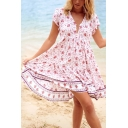 Pretty Ladies Short Sleeve V-Neck Button Up All Over Floral Print Patched Mid Pleated A-Line Dress in Pink