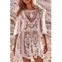 Gorgeous Ladies White Half Sleeve Round Neck Cut Out All Over Floral Embroidered Scallop Sheer Lace Short Swing Dress