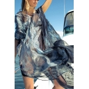 Sexy Pretty Ladies Batwing Sleeve V-Neck Patterned See-Through Mesh Slit Sides Long Oversize Dress in Navy