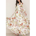 Ladies Amazing White Blouson Sleeve Round Neck All Over Floral Printed Maxi Pleated Flowy Boho Dress