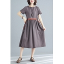 Vintage Leisure Womens Short Sleeve Round Neck Tied Waist Contrasted Linen and Cotton Midi Pleated Swing Dress