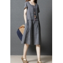 Leisure Girls Short Sleeve Round Neck Stripe Pattern Straps Patchwork Linen Mid Pleated Swing Dress