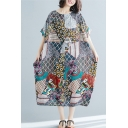 Leisure Vintage Womens Batwing Sleeve Round Neck All Over Floral Geo Printed Linen and Cotton Maxi Oversize Dress