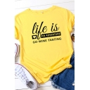 Casual Girls Rolled Short Sleeve Crew Neck Letter LIFE IS AN ADVENTURE Print Fitted T Shirt