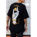 Letter Hand Of God Hand Smile Face Graphic Short Sleeve Crew Neck Loose Cool T-Shirt