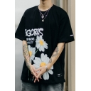 Street Mens Daisy Floral Letter Graphic Short Sleeve Crew Neck Label Patched Relaxed Fit T Shirt