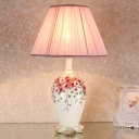 Vase Resin Table Light Classic Style 1-Bulb Bedroom Nightstand Lamp with Conic Beige/Pink Fabric Shade