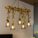 3/5-Light Wood Suspension Lamp Lodge Brown Linear Restaurant Plant Island Pendant Light with Rope Hang Wire Cage