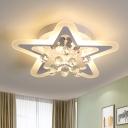 Acrylic Star Ceiling Flush Modernist LED White Flush Lighting in White/Warm Light with Crystal Droplet