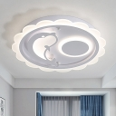 White Dolphin Flushmount Cartoon LED Acrylic Flush Mount Ceiling Light in White/Warm Light for Bedroom