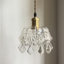 Bowl Clear Crystal Glass Hanging Lamp Modern 1-Bulb Bedside Suspension Light in Brass