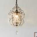 Traditional Scroll Ceiling Light Fixture 1-Light Crystal Swag Hanging Pendant in Gold/Bronze