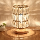 Modern Cylinder Drum Nightstand Light 1 Light Crystal Block Night Table Lamp in Gold