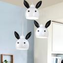 Bunny Mini Pendant Lighting Cartoon Metal 1 Bulb Bedside Hanging Light in Black and White