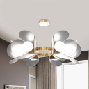 Postmodern Petals Acrylic Chandelier 6 Heads Hanging Ceiling Light in Gold over Dining Table