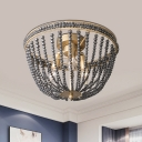Black Crystal Beaded Ceiling Light Modernism 3 Heads Bedroom Semi Flush Mount in Gold