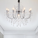 Chrome Swooping Arm Chandelier Modern Metal 9 Bulbs Dining Table Ceiling Pendant with Cascading Crystal Drape