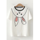 Cute Womens Rabbit Pattern Contrast Round Neck Short Sleeve Regular Fit Tee Top