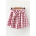 Trendy Ladies Plaid Printed Elastic Waist Bow Tie Patched Relaxed Fitted Culotte Shorts