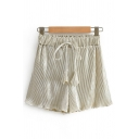 Womens Metallic Pleated Drawstring Waist Stringy Selvedge Relaxed Fit Fashion Shorts in Apricot