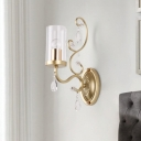 Clear Glass Brass Sconce Cylinder 1/2-Bulb Modern Wall Mount Light with Dangling Crystal
